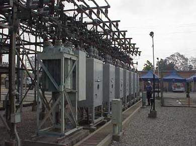 Circuit breakers that feed electricity to different sections of the city